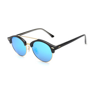 Wholesale Trendy Brow line Colorful Sunglasses Round Shape logo Customized Sunglasses