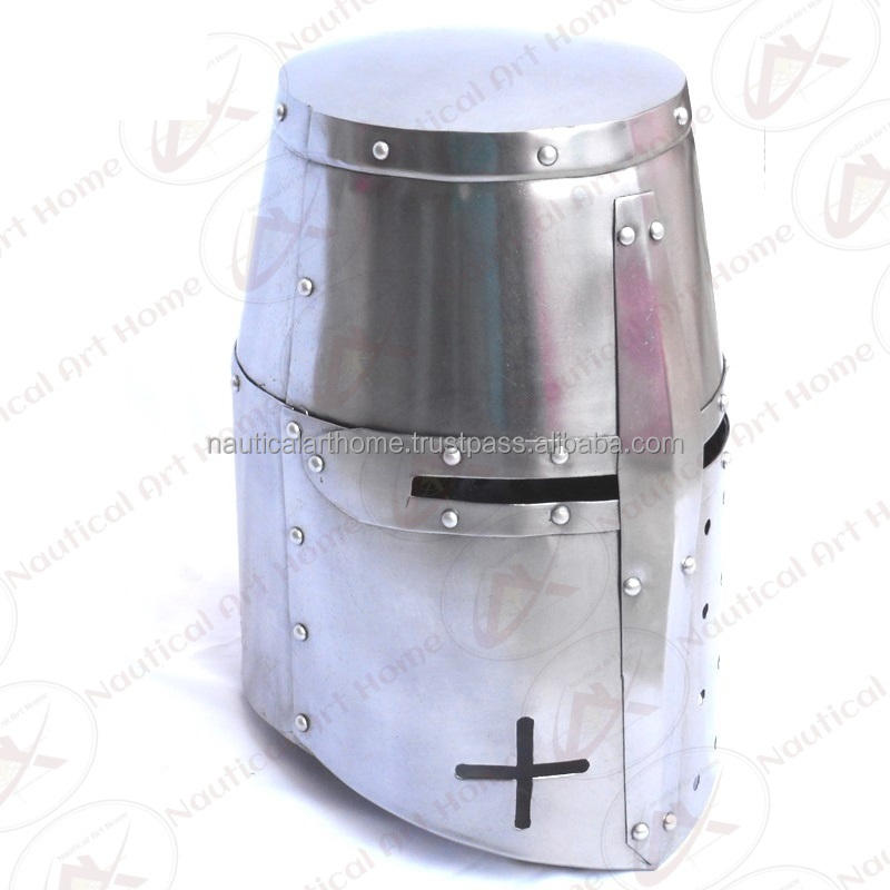 Medieval Knight Crusader Armor Helmet - Adult Size & Wearable Armour Helmet Antique Reproduction by Nautical Art Home - NAH31006