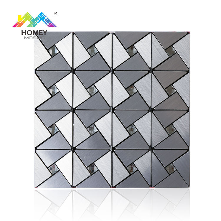 Silver grey 300x300mm kitchen mosaic backsplash peel and stick tile wallpaper