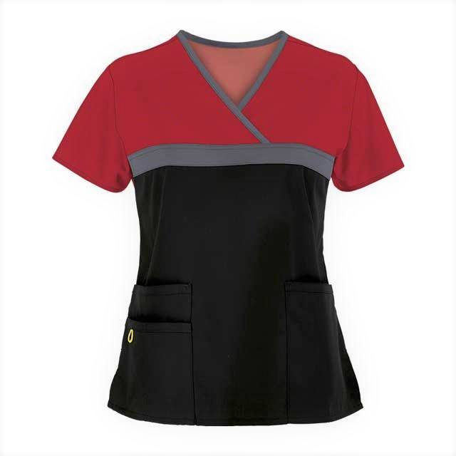 Embroidered Collar Nurse Top japan hospital uniform