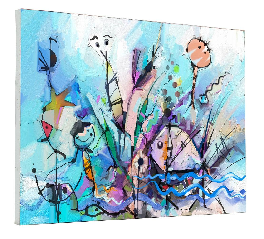 Abstract colorful fantasy oil painting -Semi- abstract of children, tree, fish and bird (106235317)