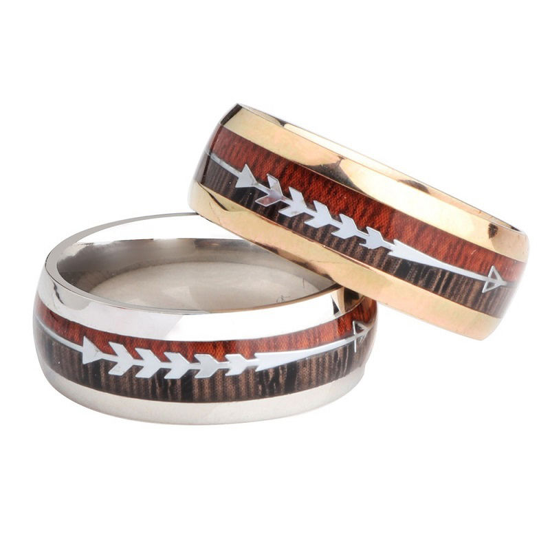 Sentai Couple Wedding Rings Silver Stainless Steel Jewelry Sets For Women Wood Rings For Men