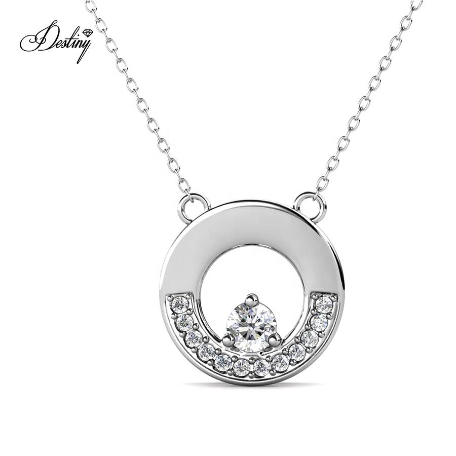 Destiny Jewellery 2021 Fine Jewelry 925 Sterling Silver GRA Moissanite Diamond Round Pendant Necklace For Women