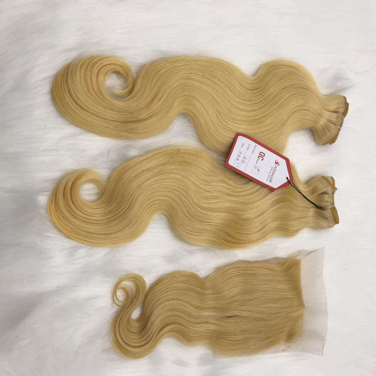 #613 Blonde Color Brazilian Human Hair Weft/Bundles Virgin Hair Straight/Wavy/Curly With Closure HD Lace To Make Wigs