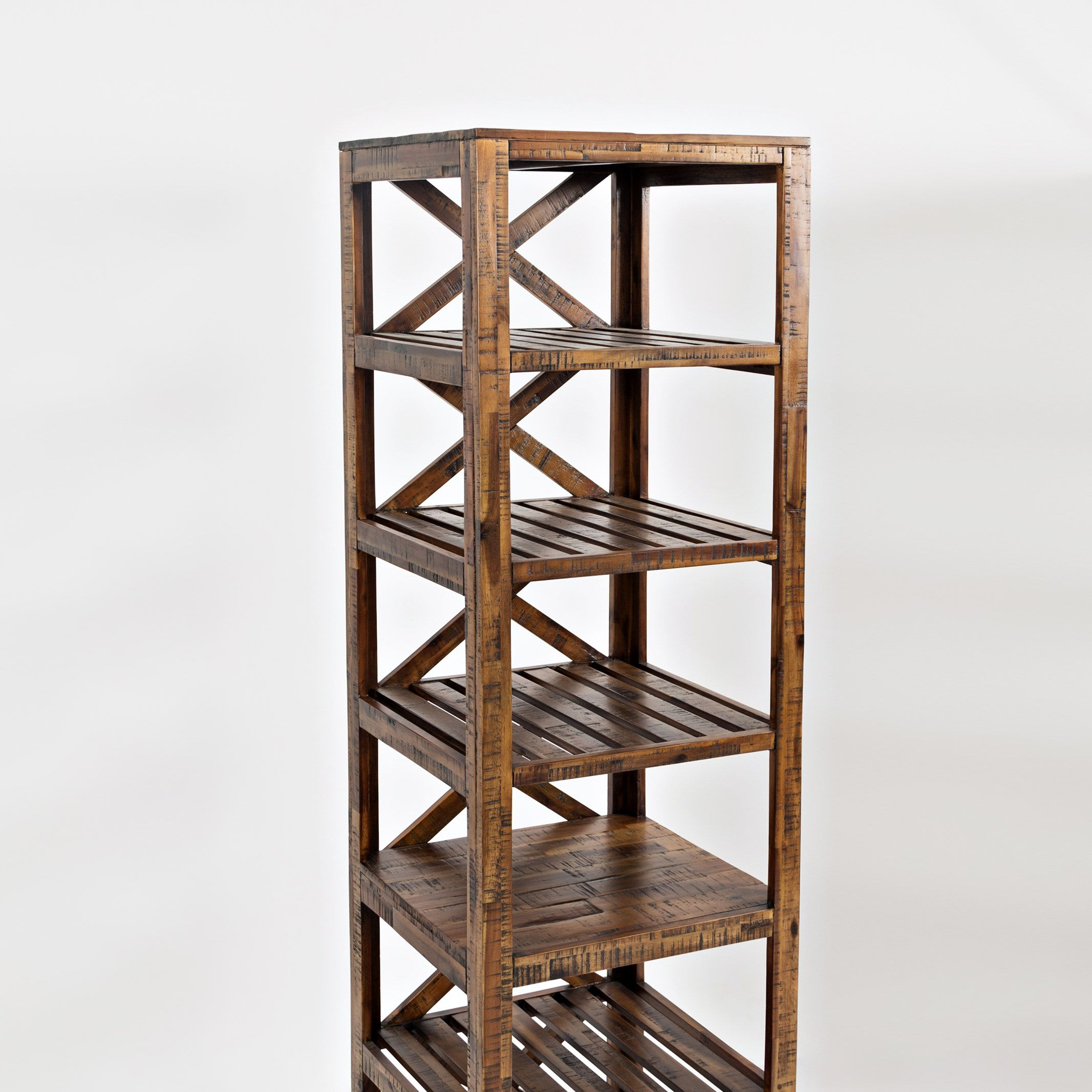 Industrial & vintage Dark Grey Black Iron Metal & solid mango wood 6 tier Book shelf