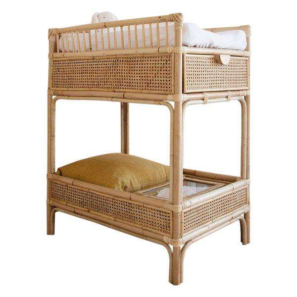Rattan baby cot and change table with cabinets