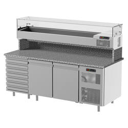 With drawer unit and refrigerated display window Pizza Preparation Table