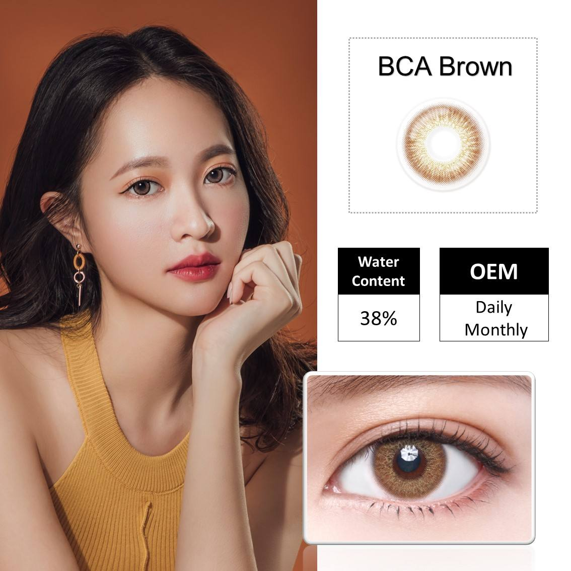 Factory Price Korean Luxury Gold Brown Monthly Color Contact Lenses