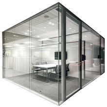 Frame hidden aluminum poder coating glass wall partitioning for office meeting conference room