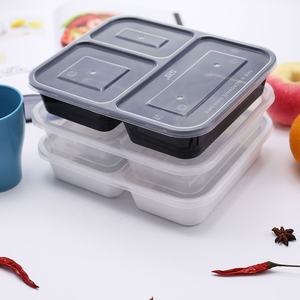 3 compartment restaurant food containers disposable plastic take away bento lunch box for fast food meal sushi