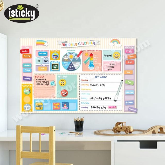 Educatief Muursticker Kids Kalender Met TPE Stickers