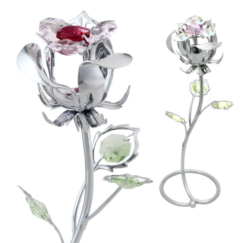 Crystocraft Enchanted Forever Eternal Flower with Crystals from Swarovski Valentines Day Love Gift Beauty and the Beast Rose
