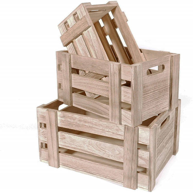 Chic rustic style flower plant storage wooden crates cheap unfinished