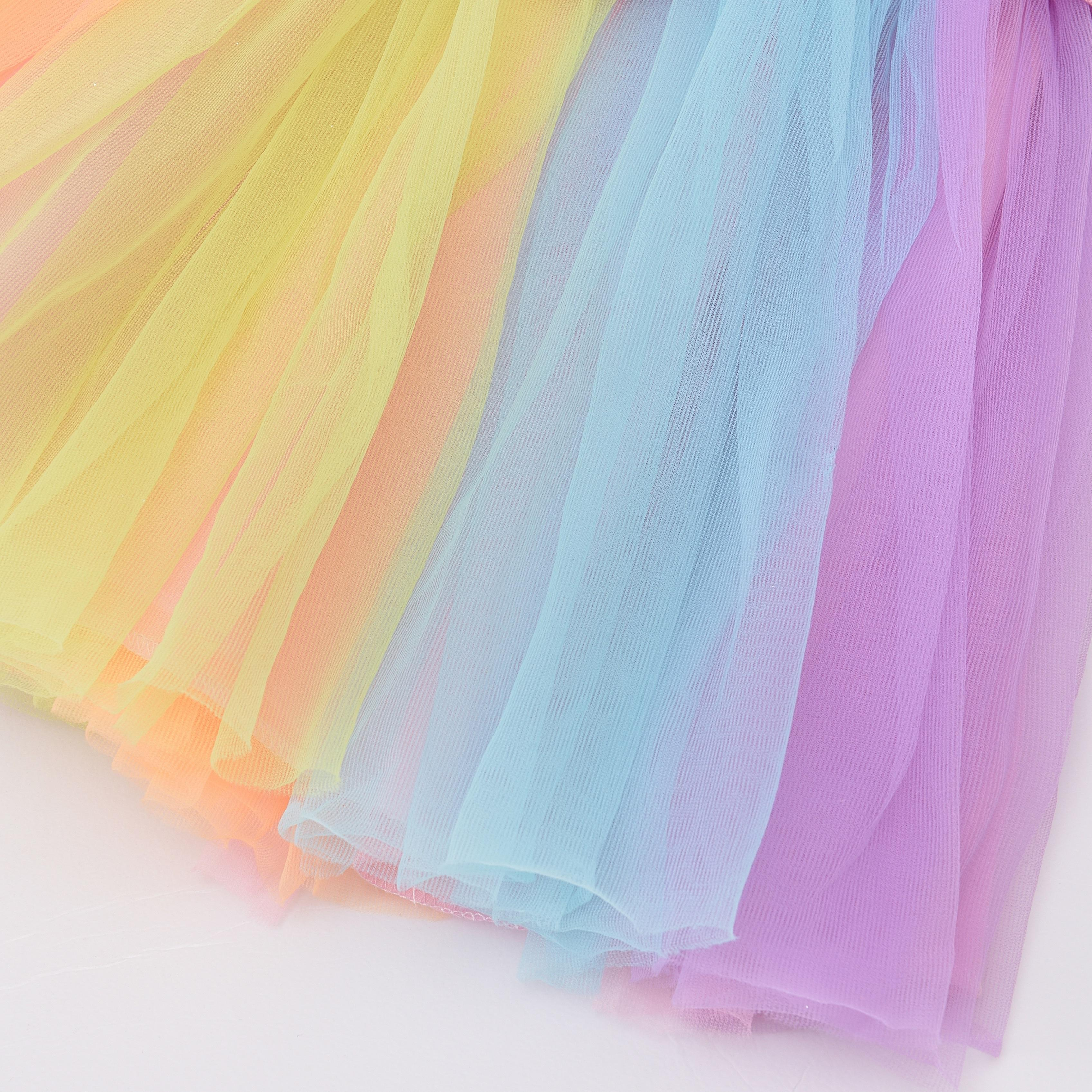 Party Costume Girls Pretty Rainbow Fairy Princess Dress Costume For Pretend Play Party