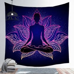 wholesale yoga lotus spiritual led tapestry room wall hangin