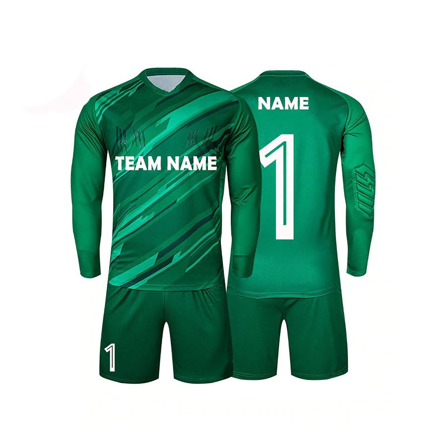 Custom Football Jerseys Goalkeeper Jersey Men Long Sleeve Football Uniform Soccer Shorts Training Sponge Protector.