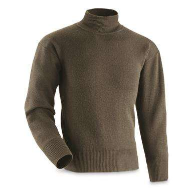 Italian Police Surplus Guardia di Finanza Wool Blend Turtleneck Sweater, Like New