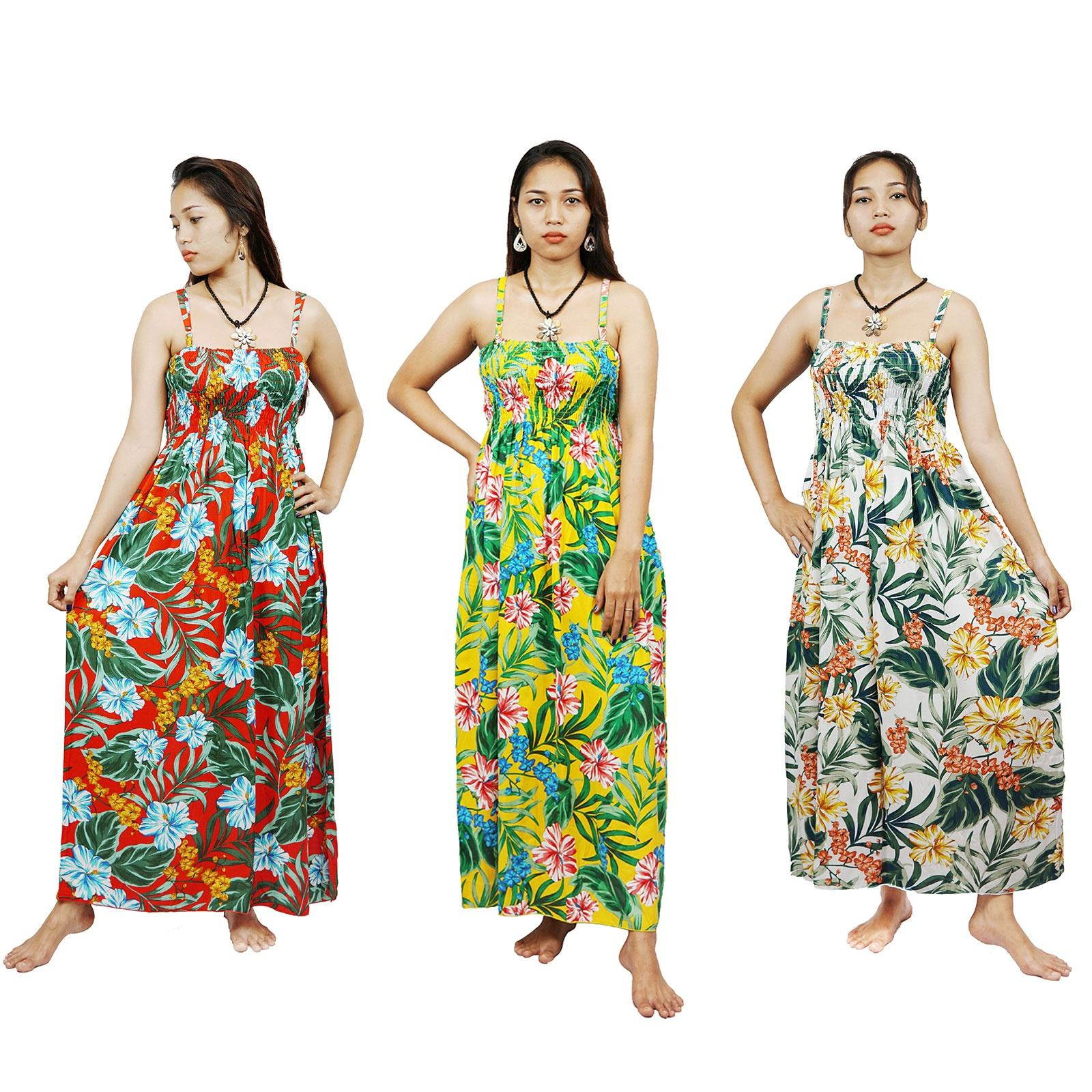 New design Women Summer Maxi beach dress Sexy Bohemian casual dresses hibiscus flower printed sleeveless Sundress from Indonesia