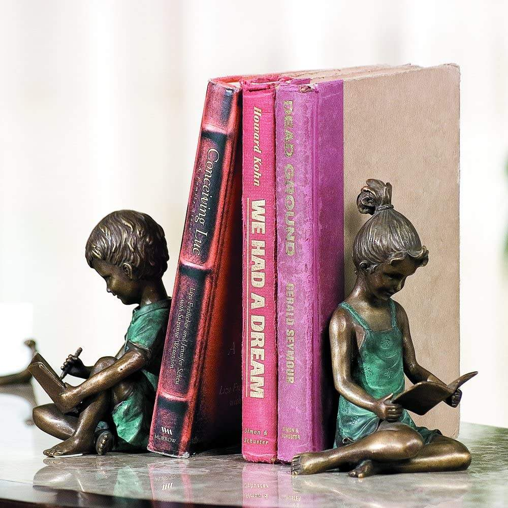 Book Stand Decoration Bookends Metal Crafts Girl and Boy Decorative Antique Brass Bookends
