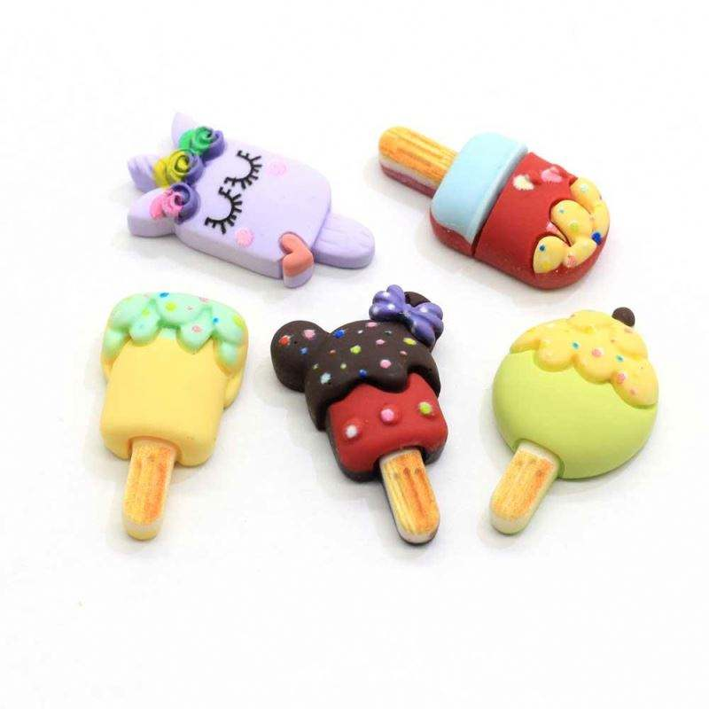 Assorted 100Pcs Resin Ice-Cream Cabochons Kawaii Cartoon Flatback Popsicle Cabochons Slime Charms Resin Flat Back Popsicle Cabs