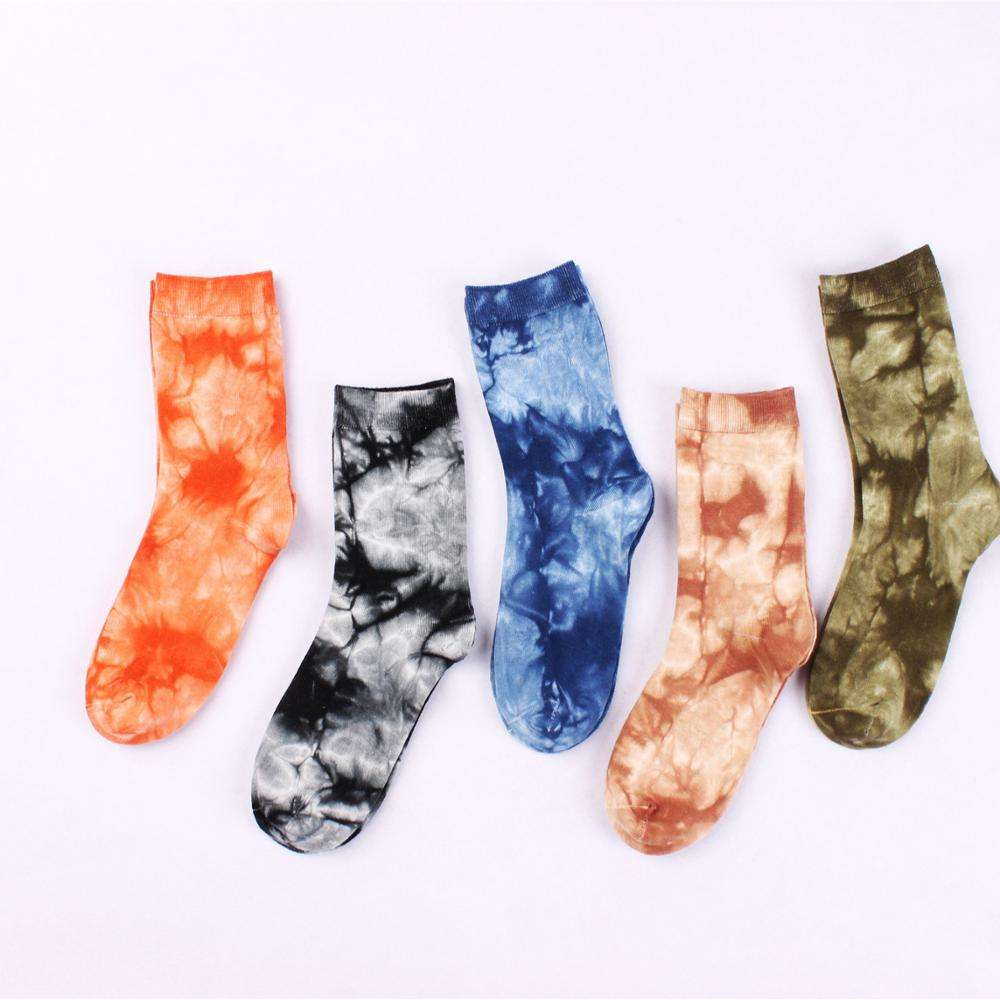 Htop custom couple fashion cotton printed tie dye digital print socks women