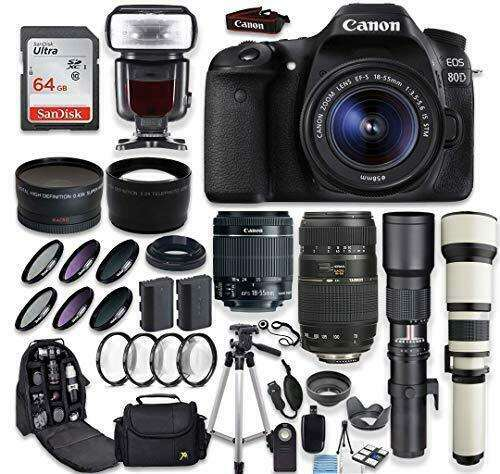 Wholesales For Canon EOS 80D DSLR Camera + (4) Lenses + Accessory Bundle