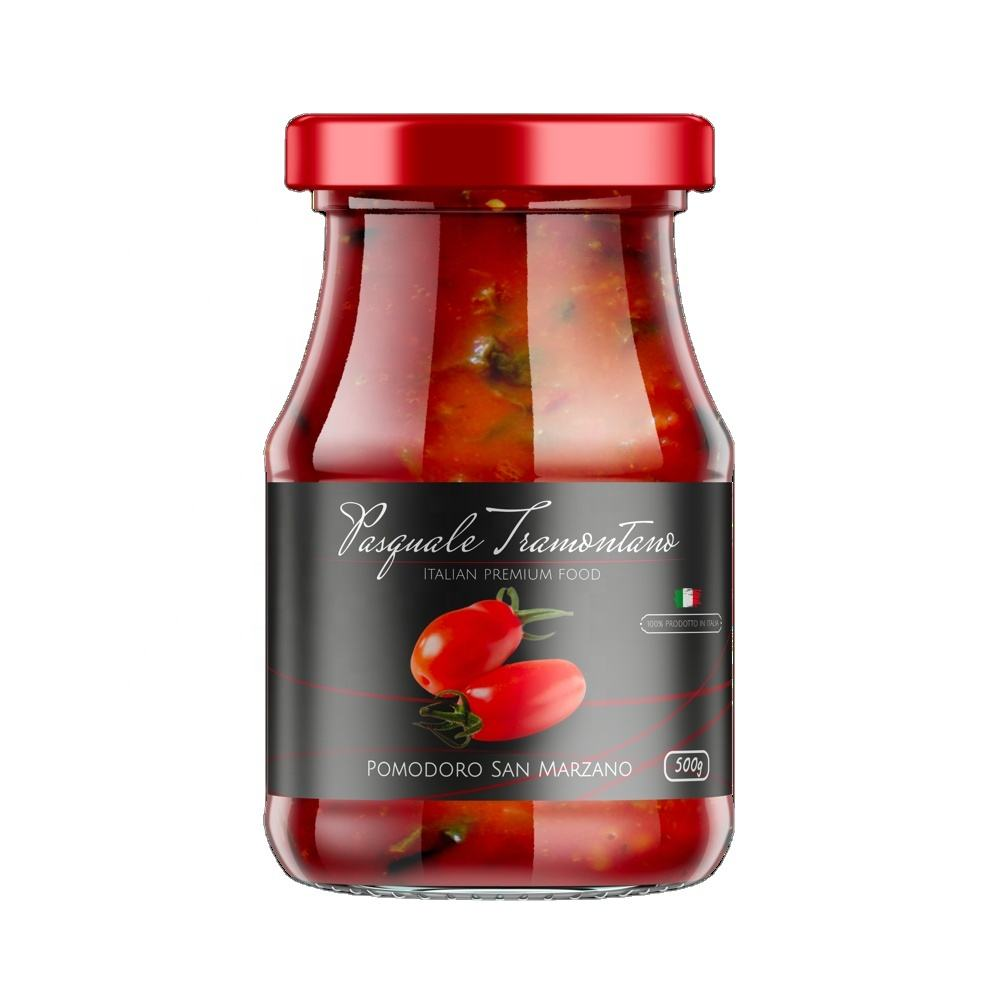 San Marzano Italian Tomatoes - Premium Quality - Sauce for Italian Pizza - in Glass Jar - Packaging 6x500g
