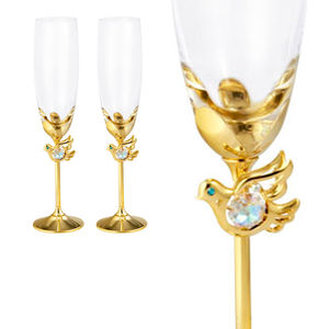 Crystocraft Gold Plated Love Doves Crystal Wedding Champagne Flutes Toasting K9 Glasses with Crystals from Swarovski