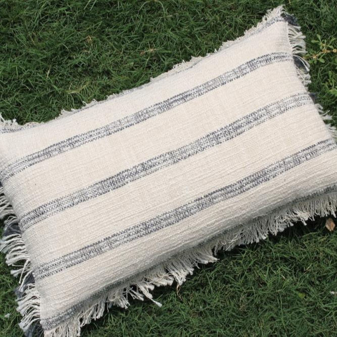 Ivory Color Handmade Cotton Pillow Cover with Fringes Cushion Couch 12 X 20 Pillow Cover Sofa Pillow Cover Decorative Cushion