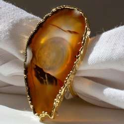 Natural Agate Slice Gold Napkin Rings Wedding Table