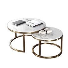 Luxury Round Coffee Table Sets Living Room Stainless Steel Furniture Marble Glass Side Table