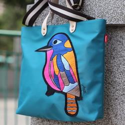 REWORK New Fashion Embroidered Woodpecker Nylon Bag with Leather Handle