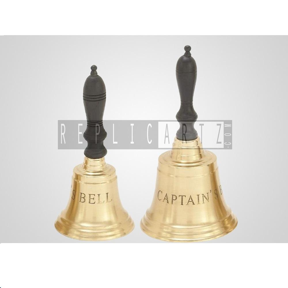Vintage Handicrafts Brass Hand Bell with Wood Handle Bell
