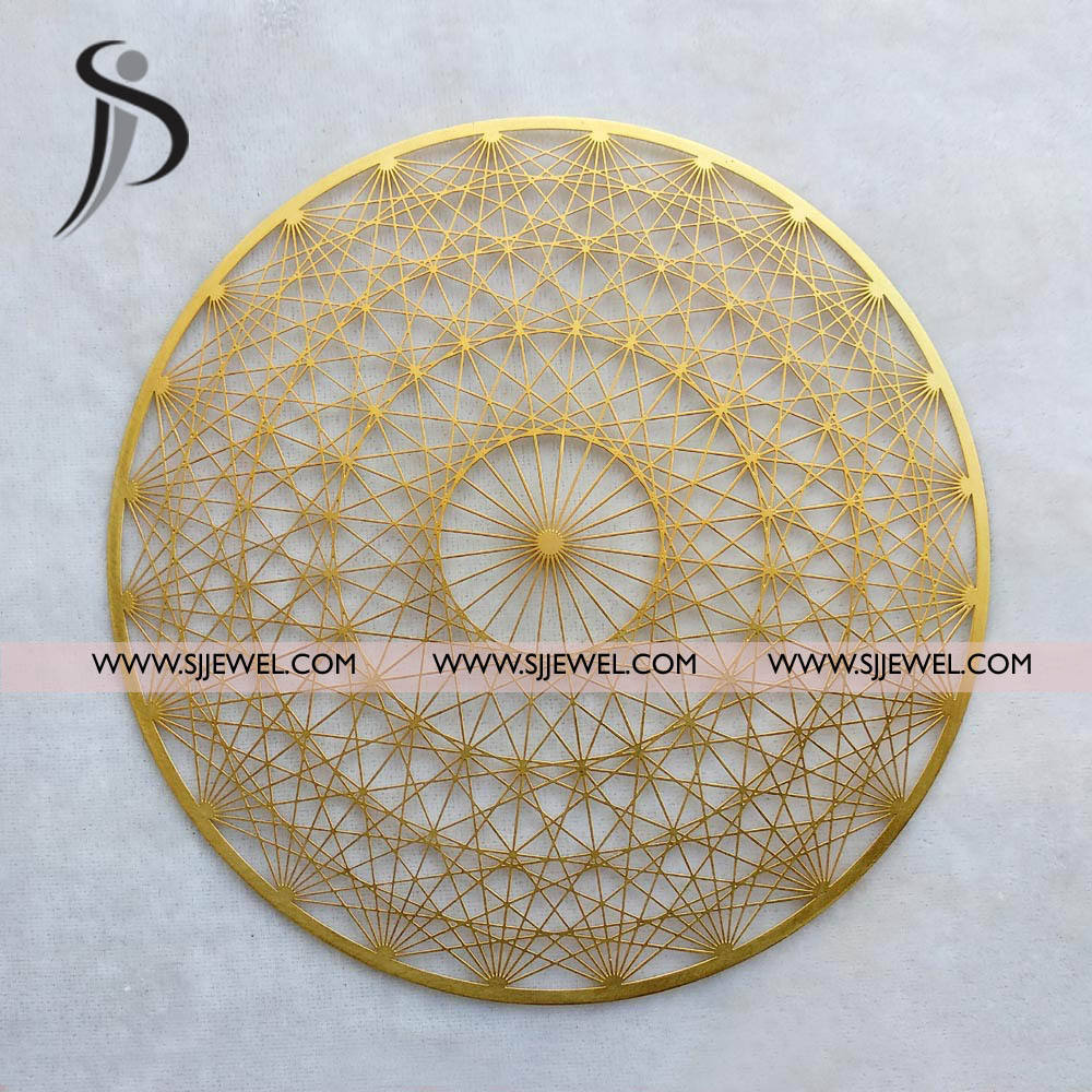 22 Kt Gold plated Sacred Geometry unique Design in Brass for wall hanging for home decor and christmas decorated items