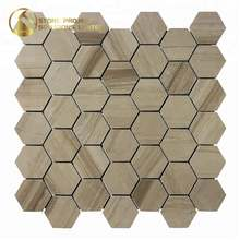 "Good Price Athens Wood Marble 2"" Hexagon Polished Mosaic Art Patterns For House Decoration"
