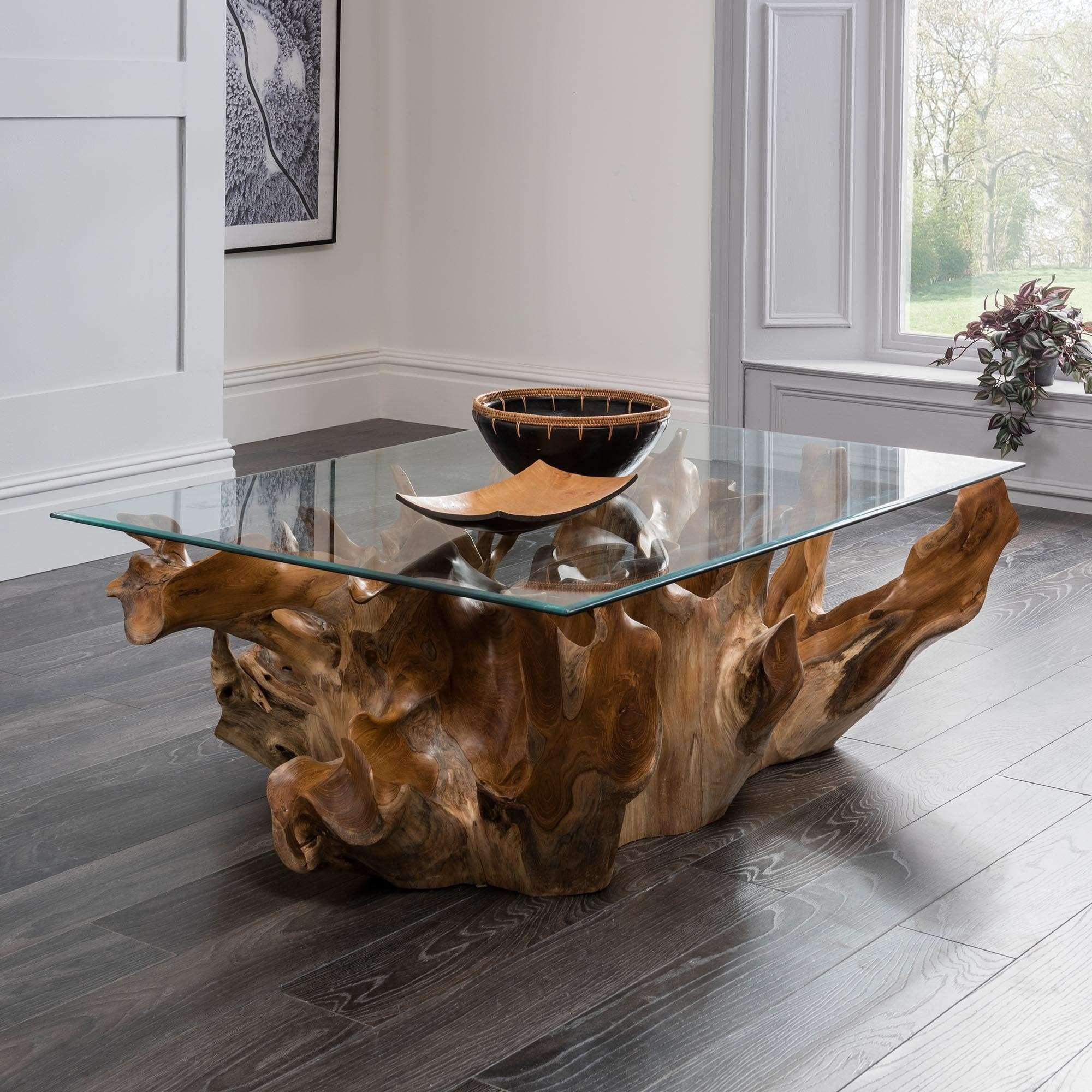 unique teak root coffee table