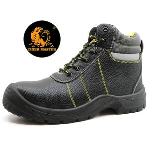 2020 new tiger master brand black leather anti static steel toe puncture proof industrial safety shoes for work