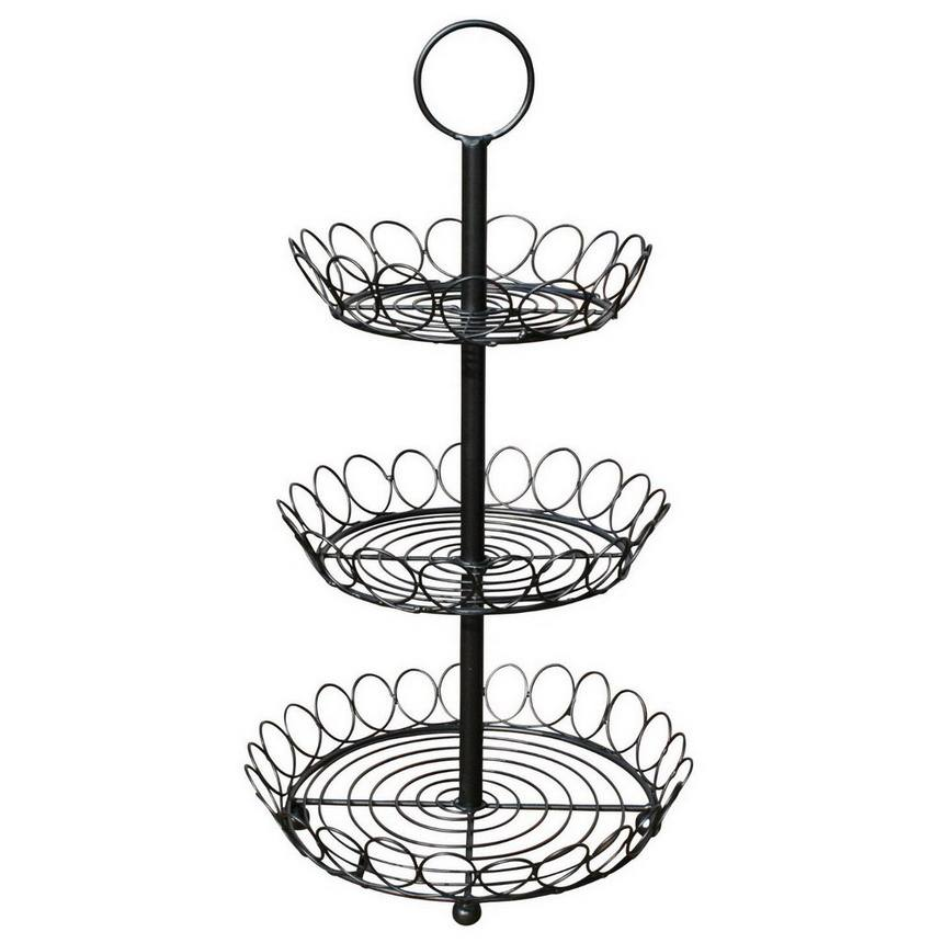 3 Tier Cupcake Fruit Cake Stand in Black Metal Wire