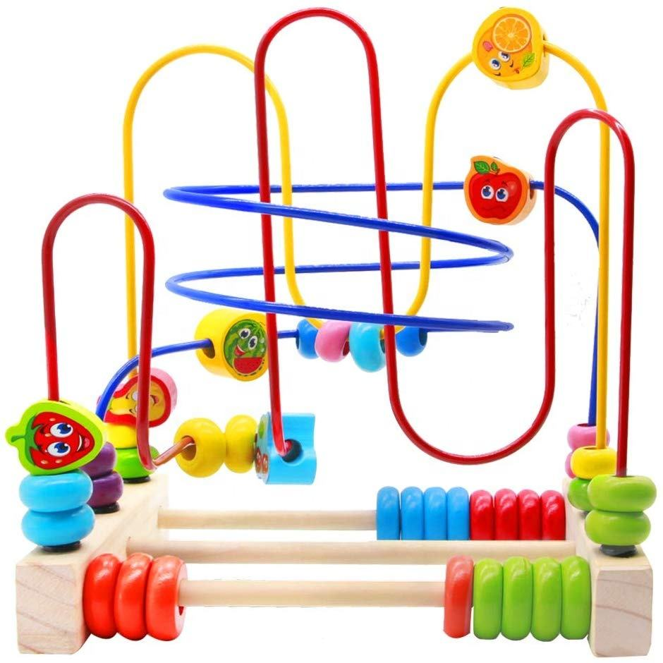 Educational Maze Game Circle Bead Wooden toy Colorful Fruit Theme Roller Coaster Game for Kids