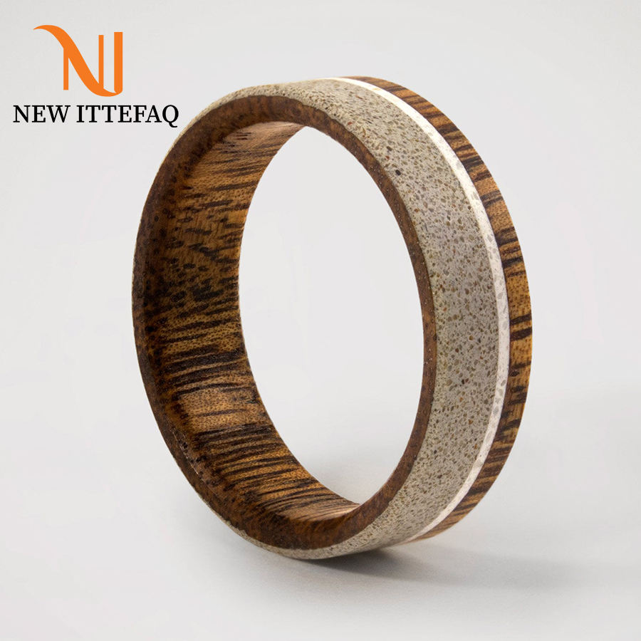 Mens Concrete Ring with Carrara Marble Inlay and Inner Viraro Wood | Solid Hardwood Wedding Band | Ring for Wedding Engagement