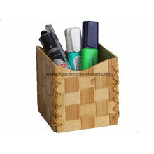 Hot Sale Square Pressed Bamboo Wooden Pen Pencil Cup Holder Collapsible Best Exporter