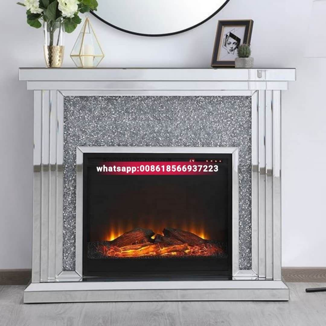 Guanding High Quality Luxury Crushed diamond Mirrored Fireplace
