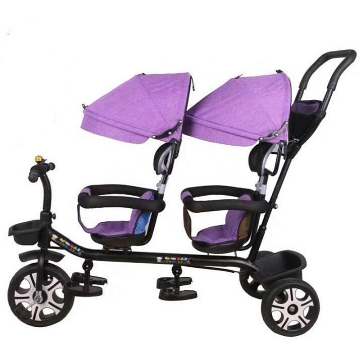 % cheap baby twins tricycle toy manufacture company ride on car kids trailer 4 in 1 children 2 seat tricycle