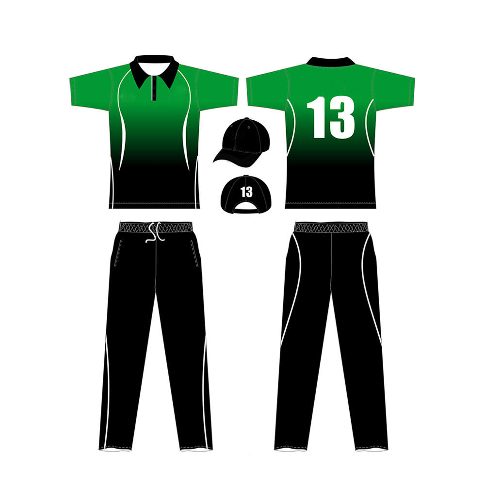 Sportswear Cricket Uniform Sublimation Half Sleeve Polyester Made Cricket Uniforms