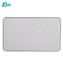 Boaz WiFi Smart Light White Glass Panel Smart Touch 3 Gang Touch Light Switch