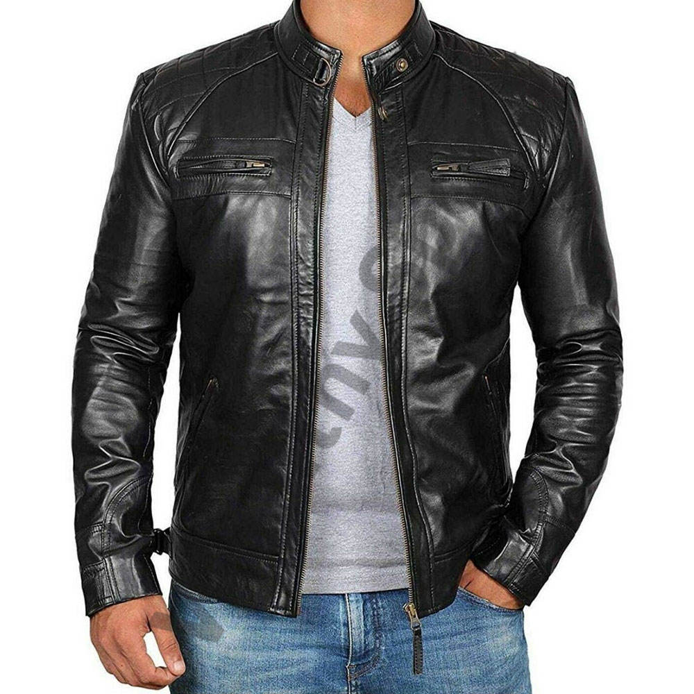Online stylish leather men's jacket