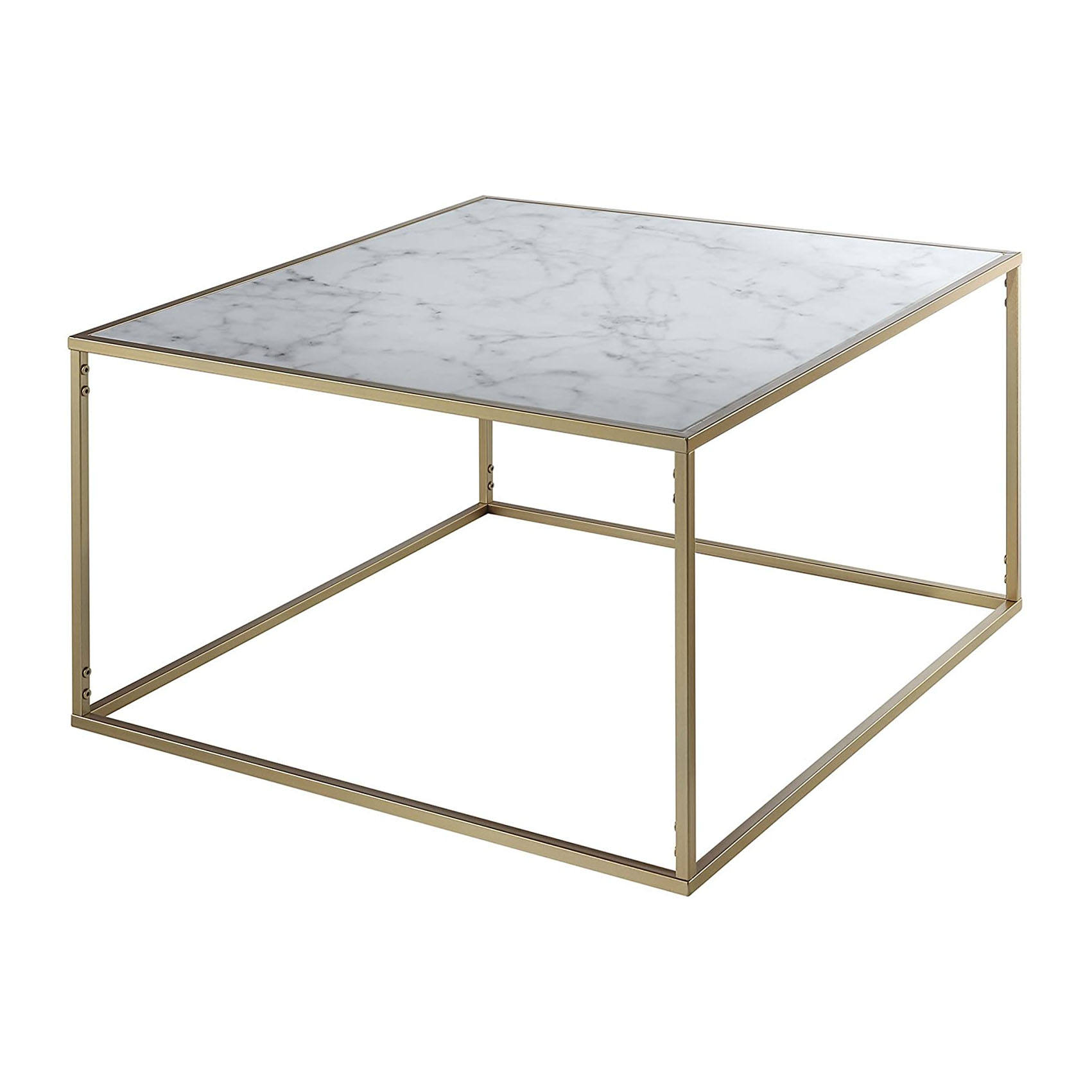 Moderne Faux Marmer Vierkante Cocktail Tafel <span class=keywords><strong>Goud</strong></span> Metalen Frame Salontafel <span class=keywords><strong>Accent</strong></span> Tafel Voor Woonkamer