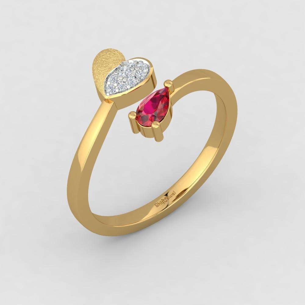 Gouden Hart Ring 14k Real Gold SI-IJ Diamond Ruby Ring