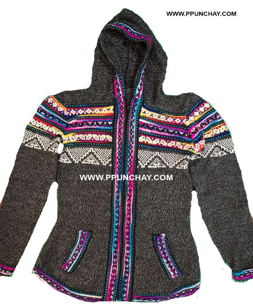Hooded Alpaca Cardigan Sweater Women Ppunchay Peru Soft and Nice
