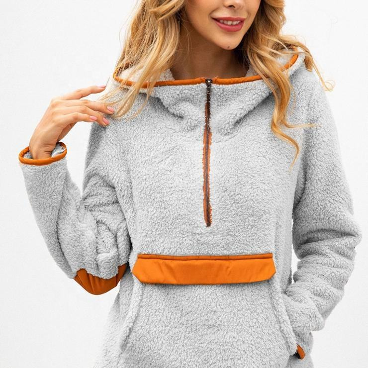 New Design Winter Women Super Soft and Warm Half Zip Pockets Women Sherpa Hoodie manufactured by Lotte Apparel